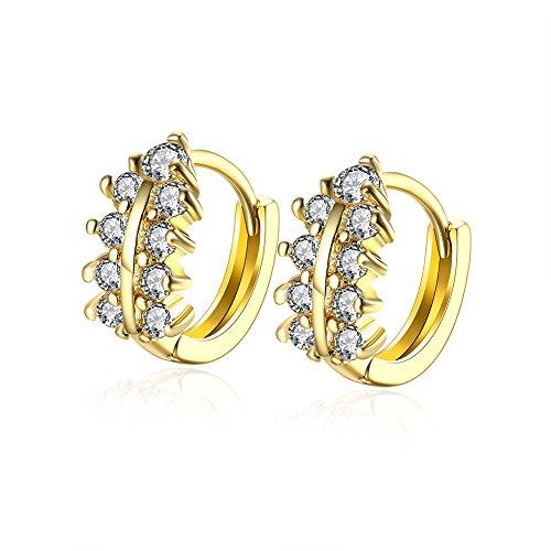 10k Gold Circle Hoop Earrings (Women's Jewelry Plating 14K Gold Double Row Hoop Circle Earrings Love Dangle Earring for)