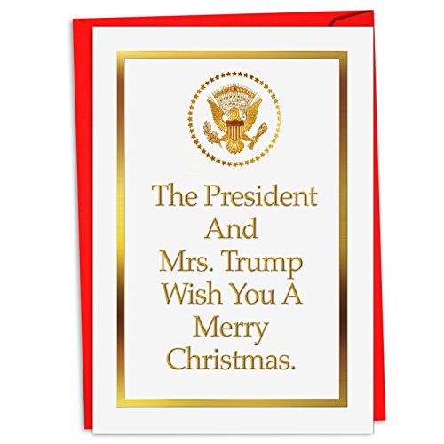 12 Boxed 'President and Mrs. Trump' Merry Christmas Cards with Envelopes 4.63 x 6.75 inch, Patriotic Presidential Holiday Notes, White House Invite Christmas Cards C4281XSG-B12 ()