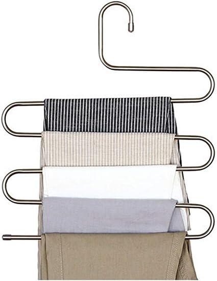 Schwarz nbvmngjhjlkjlUK 5 Schichten S-Form Multifunktionale Kleiderb/ügel Hosen Aufbewahrungsb/ügel Kleiderst/änder Mehrschichtiger Kleiderb/ügel