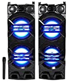 Technical Pro Dual 10'' Powered/Passive 1500w Bluetooth Speakers w/USB/SD/LED+Mic