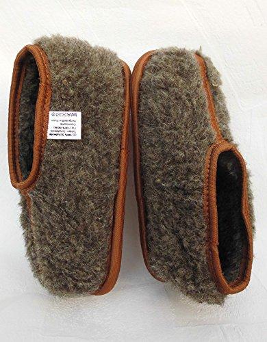 WARME Hausschuhe - Latschen Gr 43, SCHURWOLLE, Braun (Made in Poland) 10x11x4x44