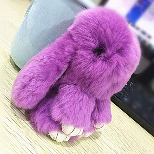 Dolland Rabbit Bunny Keychain Fluffy Cute Fur Key Chain Fur Pom Pom Fluffy Plush Pendant Car Handbag Keyring,Citron Color,About 15cm in Length ()