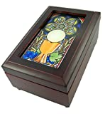 Catholic Religious Stained Glass Wood Musical Jewelry Box, 6 1/2 Inch