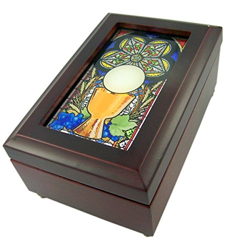 Musical Mahogany Wood Keepsake Box with Stained Glass First Communion Chalice Top, 6 1/2 Inches
