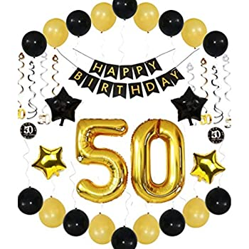 50th Birthday Party Decorations Men Him Her Banner Balloons Sparkling Hanging