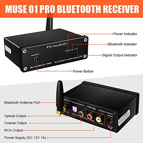 FX AUDIO Bluetooth 5.0 Receiver BL-MUSE-01 PRO with QCC3008 Support APTX SUB and ESS9023 DAC Wireless HiFi Bluetooth Audio Receiver for Home Audio System with DC 12V Power Supply (Black)