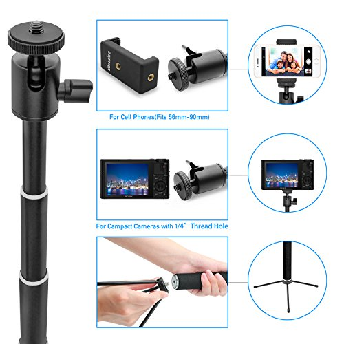 Selfie Stick, UBeesize Extendable Monopod with Tripod Stand and Wireless Shutter Remote for iPhone, Samsung, other Android phones, digital cameras and GoPro by UBeesize (Image #1)
