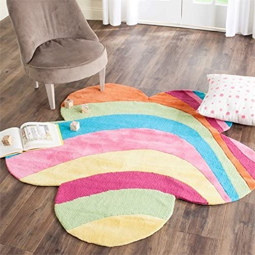 Safavieh Safavieh Kids Collection SFK415A Handmade Pink and Multi Cotton Round Area Rug 8 Diameter