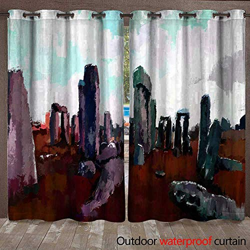 Stonehenge Ties - BlountDecor Outdoor Curtain Panel for Patio Abstract Digital Painting of Stonehenge Waterproof CurtainW120 x L96