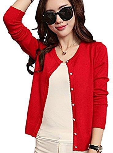 (スカイシイ) skySea カーディガン 長袖 薄手 トップス オフィス 黒 赤 白 ピンク M L XL