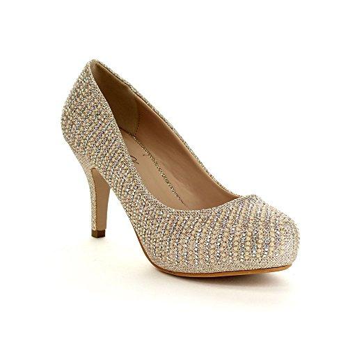 BELLA LUNA PAOLA Women's Mid Heel Party A Beaded Design Party Pumps Shoes, Color:GOLD, Size:8.5