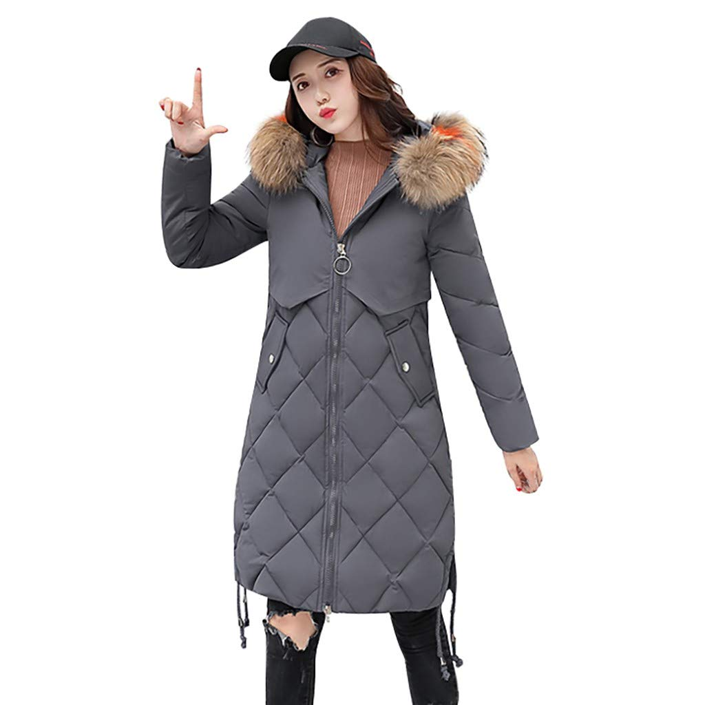 Opinionated Women's Hooded Thickened Long Down Jacket Winter Down Parka Puffer Jacket with Faux Fur Trim Hood Gray by Opinionated