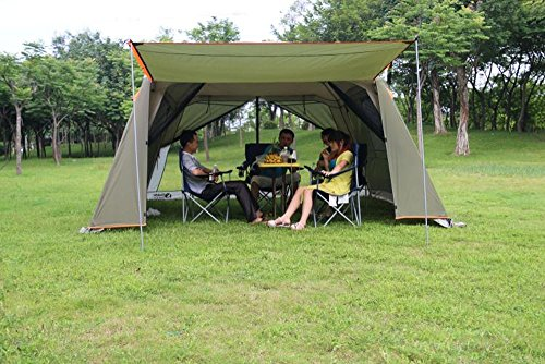 Outdoor Sports 5-8 People Large Beach Canopy UV Protection Sun Shade Shelter POP UP Pergola Gazebo Waterproof Camping Fishing Festival Screen Tents Awning (Canopy with Green Rainfly)