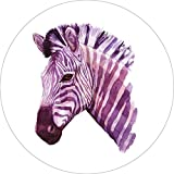 Zebra Home Wall Shelf Decor Animal Decorations Watercolor Round Sign - 18 Inch, Plastic