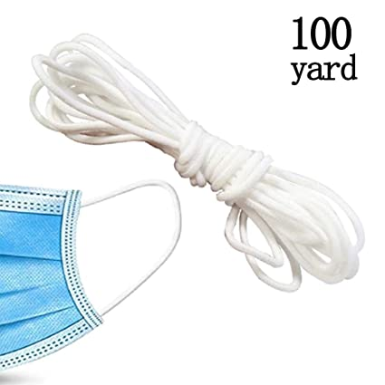 Stretchy Ear Tie Rope for Sewing Knitting 3mm 100 Yard Handmade White Elastic Strap Earloop String Cord 1//8-Inch