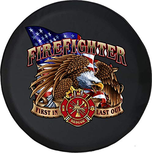 Spare Tire Cover American Bald Eagle Firefighter Rescue Adventure 4x4 Fun Fits Jeep or Camper RV Size 29 Inch