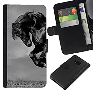 Planetar® Modelo colorido cuero carpeta tirón caso cubierta piel Holster Funda protección HTC One M7 ( Horse Black Mustang Mane Gallop Stallion )