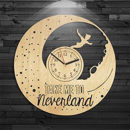 Amazon.com: Peter Pan Wood Clock, Neverland Wooden Clock, Wall Clock ...