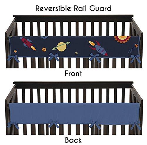 Sweet Jojo Designs Space Galaxy Rocket Ship Galatic Planets Long Front Rail Guard Baby Teething Cover Crib Protector Wrap