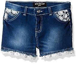 XOXO Toddler Girls\' Denim Lace Trim Short, Medium Wash, 3T