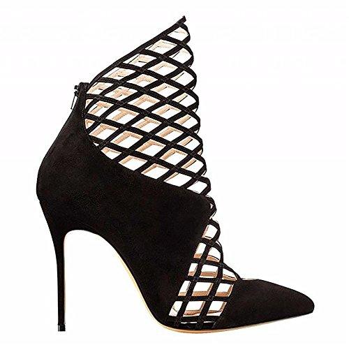 piede del Vestito Stivali Nero Pompa Manuale Cavo Donna Dito Pelle 44 35 aAppuntito black Caviglia Artificiale SYYAN f7YxXvnq