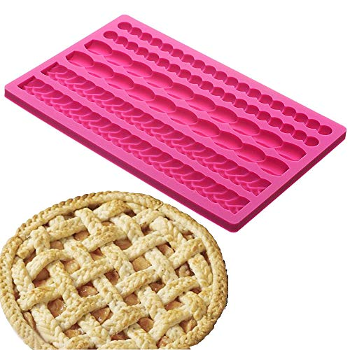 (Palksky Pie Crust Impression Mat/Fondant Molds Silicone Mold Cake Decoration Molds for Chocolate Fondant Sugarcraft Pastry Cupcake Toppers)