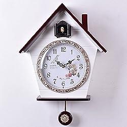 RFJJ Cuckoo Wall Clock Modern Birdhouse Swing Pendulum Clock,Solid Wood Mute Wall Clock with Quartz Movement and Cuckoo Chime