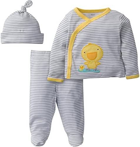 Gerber Baby 3 Piece Side Snap Mitten Cuff Shirt, Footed Pant and Cap