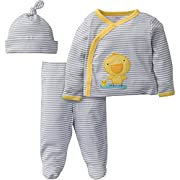 Gerber Baby 3 Piece Side Snap Mitten Cuff Shirt, Footed Pant & Cap, Duck, Newborn