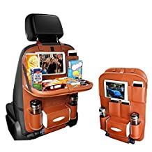 Kiptop Backseat car Organizer-Kid Travel Accessories,iPad /Tablet Holder, Wet Wipes Tissue Compartment Stretchy Storage Pockets. Kick Mat Seat Back Protector (Brown)