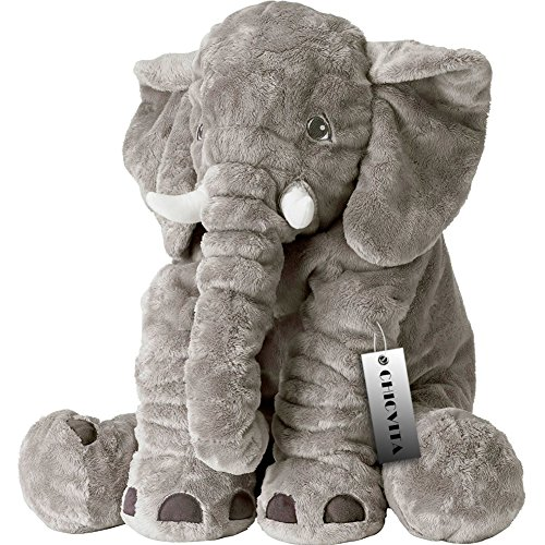 CHICVITA Gray Large Stuffed Elephant Plush Animals Toys, 24 Inches Cushion Plush Toy
