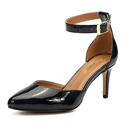 Enelauge Women's D'Orsay Pointed Toe Ankle Strap Kitten Heel Stiletto Dress Pumps Shoes | Pumps