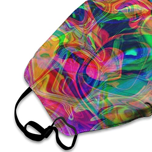 Garde Art Studio Unisex Premium Polyester Face Cover Mask, Psychedelic Colorful Vivid Colors Funny & Fashion Accessories for Women Man Kids Comfortable & Washable Recycling Safety Face Masks