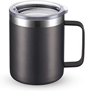 CIVAGO Stainless Steel Coffee Mug Cup with Handle, 12 oz Double Wall Vacuum Insulated Tumbler with Lid Travel Friendly (Gray, 1 Pack)