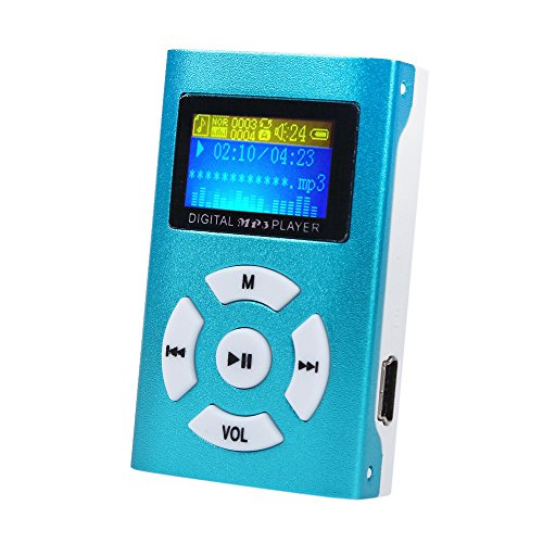 GXOK USB Mini MP3 Player LCD Screen Support 32GB Micro SD TF Card (Blue)