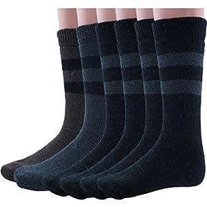 Mens Rabbit Wool Thermal Socks Ultra Warm Thick Boot Socks 6-pack By DEBRA WEITZNER, Black/Grey/Brown, Size Men's 10-15