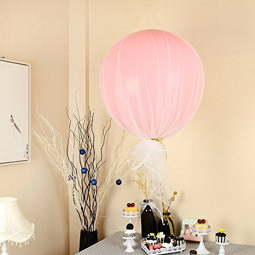 ZOOYOO 36 inch Pink Latex Balloons With Tulle Panels for Birthday Party,Wedding,Valentine's day