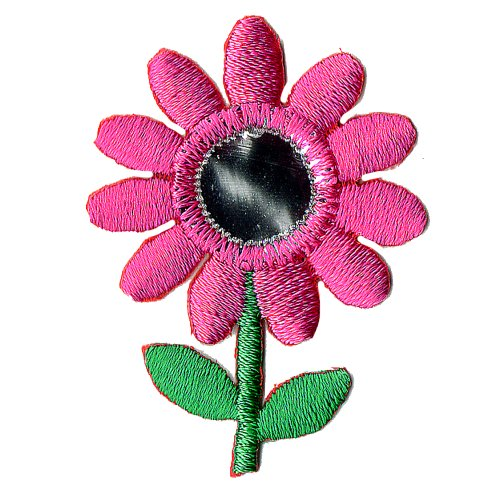 (Venus Ribbon Iron-On Daisy with Mirror and Stem Applique, 4-Piece, 1 1/4-Inch by 1 3/4-Inch, Shocking Pink/Green/Silver)