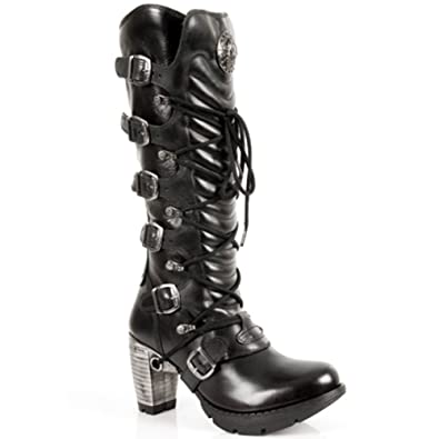 06312e589b1e NEWROCK TR004-S1 Ladies Black Leather Buckle Lace Knee High Zip Boots. 3
