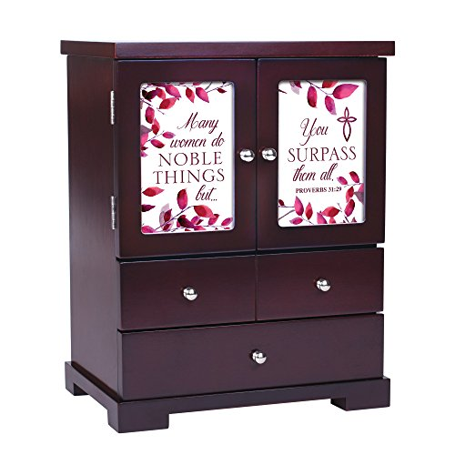(Cottage Garden Many Women Do Noble Things 12 x 10 Cherry Wood Finish Jewelry Armoire)