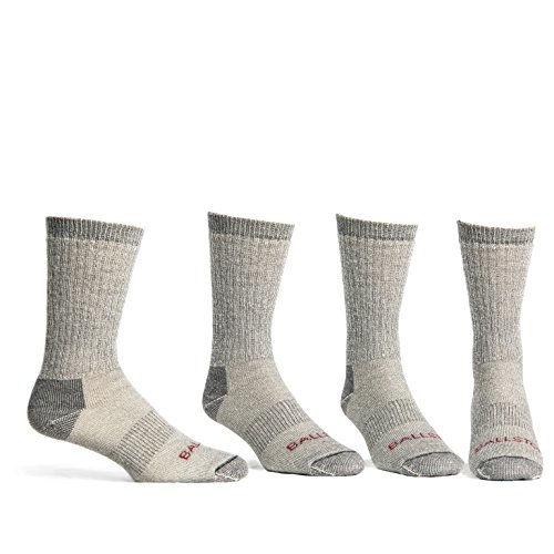 Ballston Unisex Lightweight All Season 81% Merino Wool Hiking Socks - 4 Pairs (XL (Fits Men's Shoe 12-15), Lunar Gray)