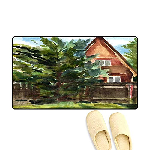 Door Mats for Inside Non Slip Backing Wooden House in Village Cottage Near a Forest Sketch - Catalina Cottage