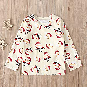 jieGorge Boys Tops, Newborn Infant Baby Boys Girls Christmas Santa Cartoon Print T-shirt Clothes Set, Clothes for Baby…