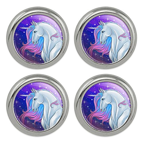 Majestic Unicorn Pink Purple Blue Metal Craft Sewing Novelty Buttons - Set of 4