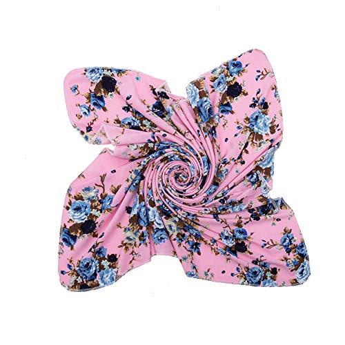 Newborn Receiving Blanket Headband Set - Unisex Soft Baby Swaddle Girl Boy Gifts (Rose Pink-Bow-Knot)