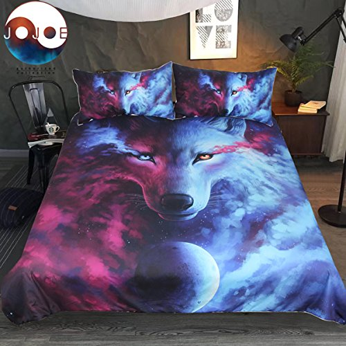 Sleepwish Where Light and Dark Meet by JoJoesArt Bedding Set 3pcs Wolf Space Moon Duvet Cover 3D Pink Blue Purple Galaxy Bedspread (Twin) (Twin Wolf Bedspread)