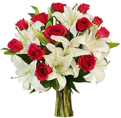Benchmark Bouquets Hot Pink Roses and White Oriental Lilies, No Vase