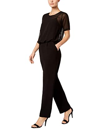 4584e778586 Amazon.com  Calvin Klein Womens Chiffon Short Sleeves Jumpsuit Black 2   Clothing
