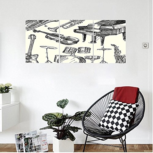 Liguo88 Custom canvas Jazz Music Decor Wall Hanging Collection of Musical Instruments Sketch Style Art with Trumpet Piano Guitar Bedroom Living Room Decor Beige Black (Piano Tv Gloss Finish Stand)