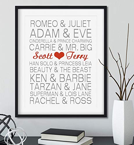 Personalized Famous Couples and Your Name with Black Frame Available, You Choose Colors